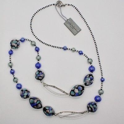NECKLACE ANTIQUE MURRINA VENICE WITH MURANO GLASS BLUE TURQUOISE BLACK COA09A06