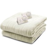 Biddeford Blankets Comfort Knit Heated Blank Dual Controllers Queen, Nat... - $89.95
