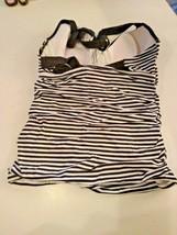 Tommy Bahama Little Stripe Black/White Under Wire Halter Tankini Size XL image 2