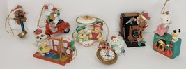 Vintage Lustre Ornaments Lot Of 7 Christmas Critters Mice Racoon Bears 1... - $24.75