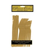 Heavy Weight Gold Plastic 24 Ct Asst Forks Knives Spoons Cutlery - $4.89