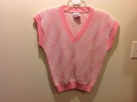Picture Perfect Pink White Sparkly Knit V Neck Sweater Vest