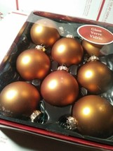 Holiday Living Glass Ornaments Bronze Christmas Balls Xmas Tree 8 Pack O... - $7.75