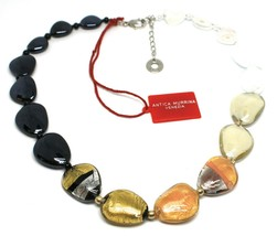 Necklace Antica Murrina Venezia, Glass Murano, White Black, Leaf Gold, COA13A15 image 2