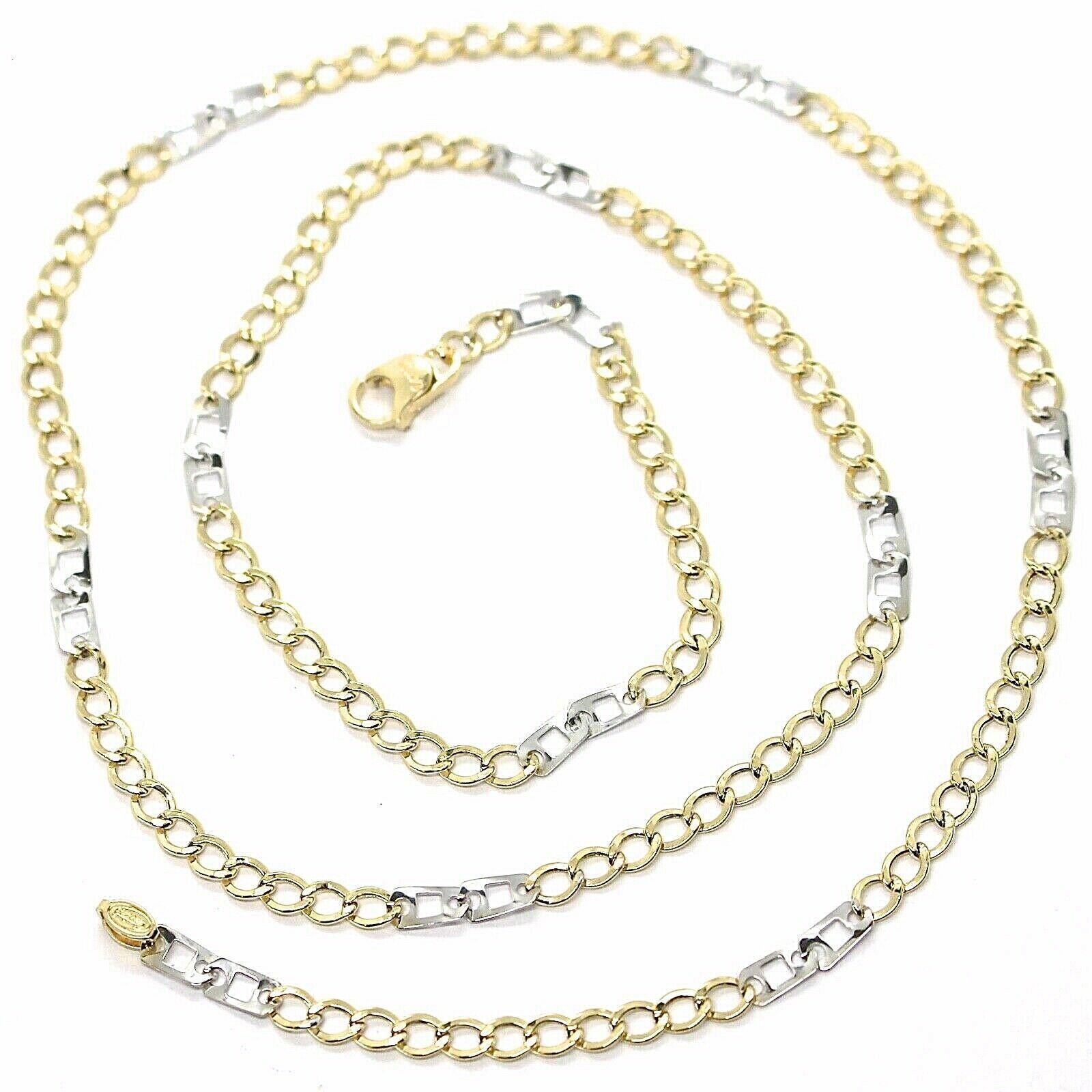 Cadena Oro Amarillo Blanco 750 18K, 50 cm, Groumette Plana y Cuadrado, 3 MM