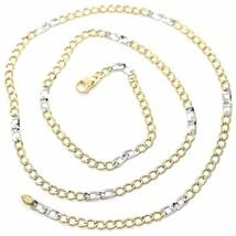 Cadena Oro Amarillo Blanco 750 18K, 50 cm, Groumette Plana y Cuadrado, 3 MM - $429.29