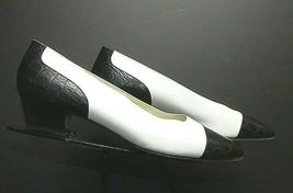Women's Allen Edmonds Italy Faux-Croc Cap-Toe Kitten Heel Pumps Sz 10B MINT - $36.10