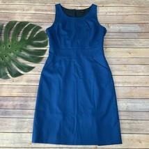 J.Crew Emmaleigh Sheath Dress Size 8 Bright Blue Wool Sleeveless Pockets - $36.62