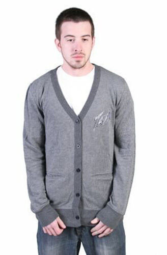 Tavik Mens Charcoal Gray Striped Roger Light Weight Cotton Cardigan Sweater NWT