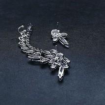 Small Flower Ear Cuff Earrings Women Clear Whit... - $17.27