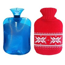iCorer Premium PVC Transparent Hot Water Bottle with Cute Knit Cover , 2 Liter - $18.99