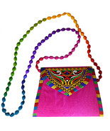 Zonnie Jaya Indian Embroidered Small Purse Pink - $20.28
