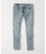 NEW Abercrombie & Fitch Ripped Skinny Slim Jeans Langdon Light Wash 33 x... - $22.94