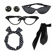 Retro 1950s Polka Dot Style Scarf Glasses Headband and Earrings Costume ... - $15.43