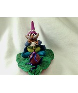 Sculpture Small Gnome On A Leaf Fantasy Hand Crafted Polymer Clay Mixed ... - $37.99