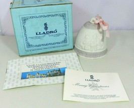 Lladro 1987 Bisque Porcelain Christmas Bell Ornament Embossed Paperwork & Box - $25.99