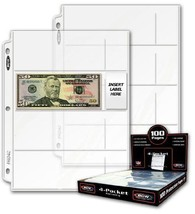20 Twenty - BCW Pro 4-Pocket MODERN Currency Storage Page - Coin & Curre... - $8.22