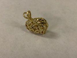 "14K Yellow Gold 2.4G 3D Filigree Heart Pendant Charm 7/8"" tall x 3/4"" wide image 3"