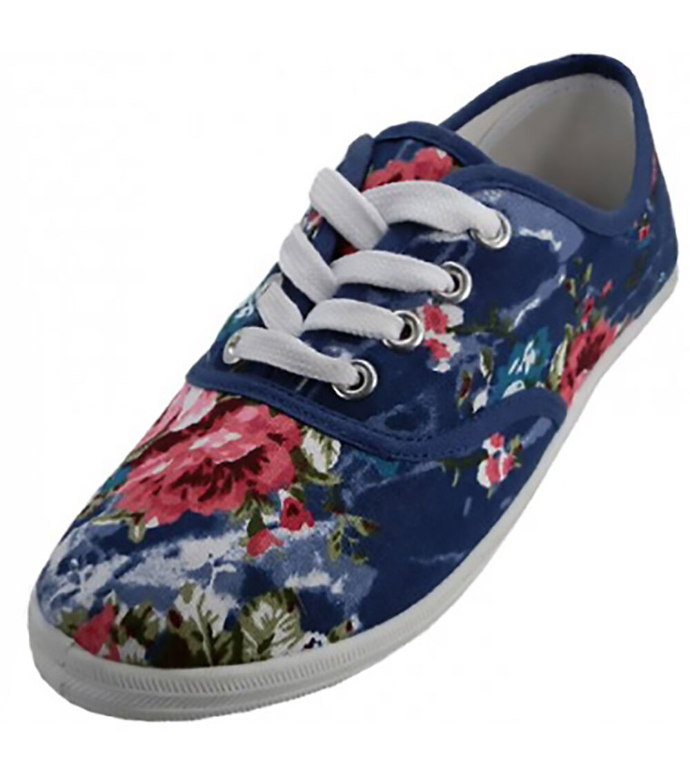 Primary image for Womens Blue Floral Print Canvas Sneakers Lace Up Plimsoll Tennis Shoes