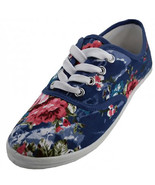 Womens Blue Floral Print Canvas Sneakers Lace Up Plimsoll Tennis Shoes - €13,14 EUR