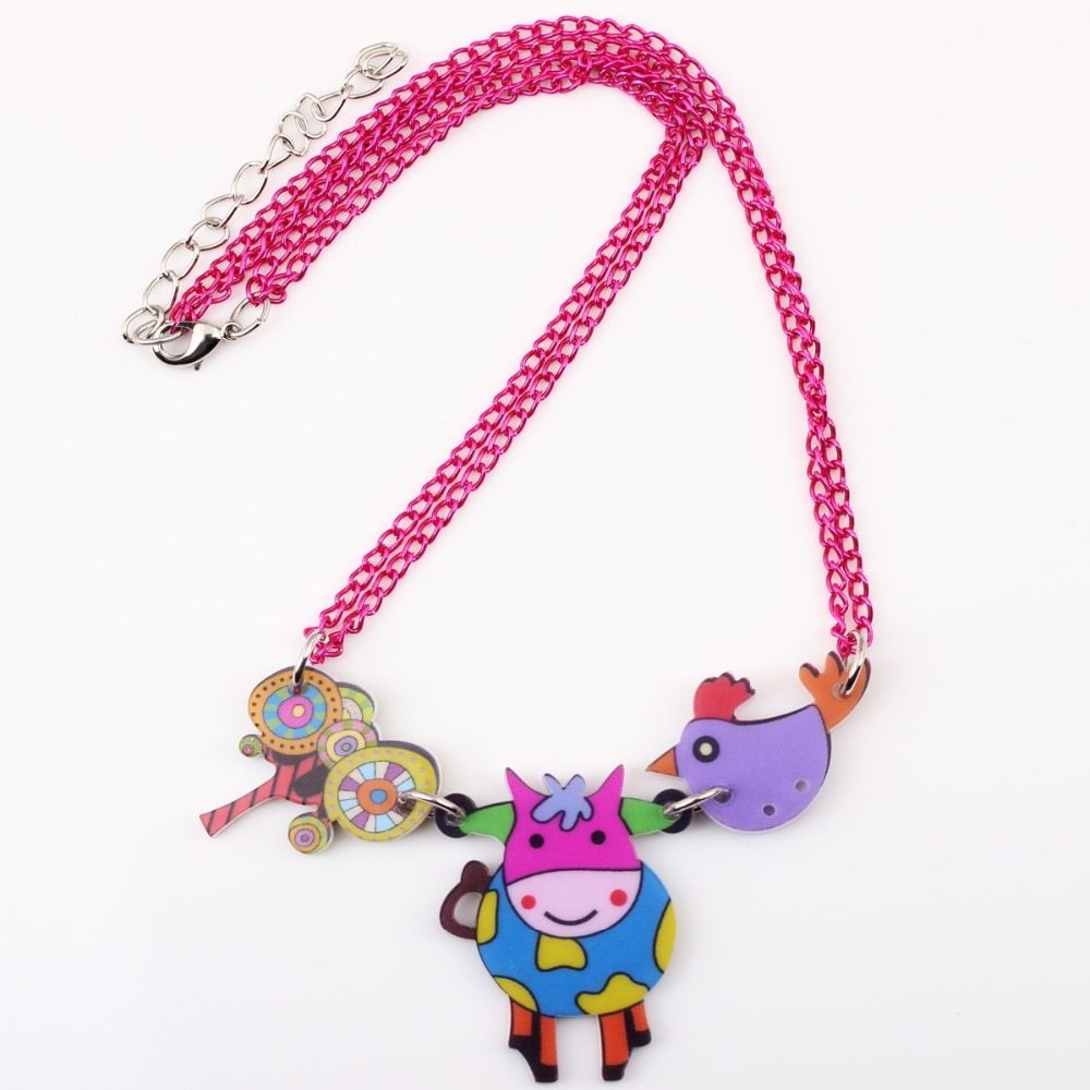cow necklace pendant acrylic pattern 2016 news accessories spring summer cute an image 4