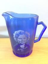 Vintage 1930s Hazel-Atlas Shirley Temple Cobalt Blue Glass Pitcher Cream... - $14.01