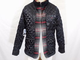 WOOLRICH Womens S/SMALL MAPLE RUN Button UP WOOL Quilt Lined BLACK PLAID Jacket image 11