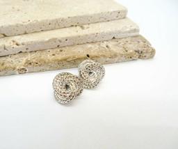Vintage Signed Monet Silver Tone Infinity Knot Pierced Earrings EE52 - $16.99