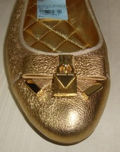 Michael KORS ALICE MK Logo Sparkle Metallic Gold Leather Padlock Bow Fla... - $68.30