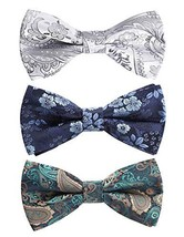 Enlision 3 Packs Pre-Tied Bow Tie Adjustable Formal Bowties in Different Colors
