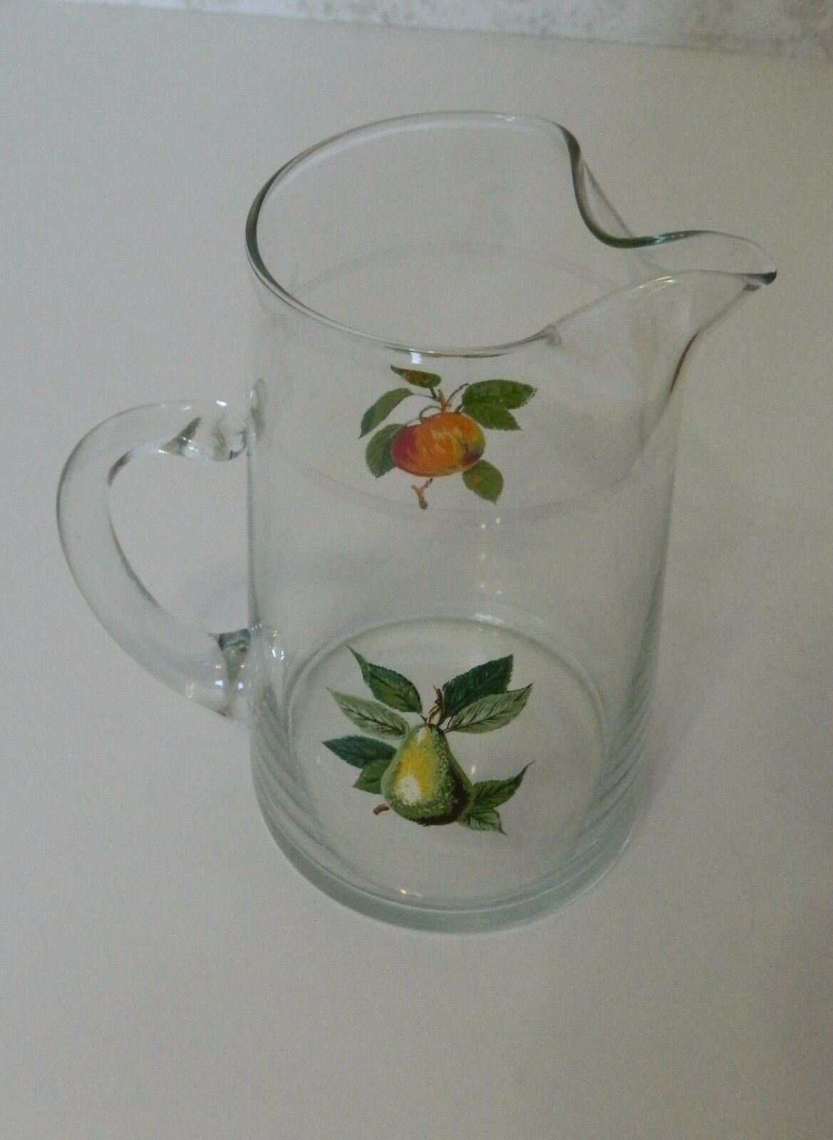 West Virginia Glass Juice Milk Pitcher with Fruit Design Apple Pear Open Handle