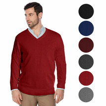 Berlioni Italy Men's Premium Slim Fit Microfiber V-Neck Dress Pullover Sweater