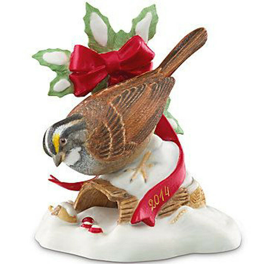 Lenox White Throated Sparrow Christmas Bird Figurine 2014 Limited Edt New in Box - $38.90