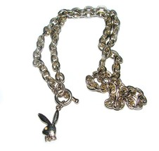 DOUBLE-SIDED BUNNY PLAYBOY NECKLACE W/ AUSTRIAN AB CRYSTAL RHINESTONE - $40.56