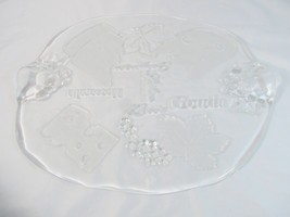 """Studio Nova Normandy Oval Glass Cheese Platter Clear Frosted 16 1/4"""" Germany - $57.41"""