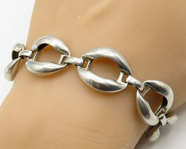 925 Sterling Silver - Vintage Hinged Macaroni Designed Chain Bracelet - ... - $96.21