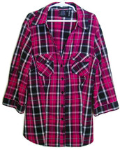 PRE-OWNED GIRLS PINK/BLACK PLAID BLOUSE BY COTTON EXPRESS SIZE M  - $9.25