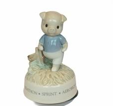 Chariots of Fire Pig hog piglet rotating music box Roman figurine marath... - $48.33