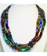 Marbled beads three strand multi colored beaded... - $39.00