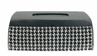 Blonder Home Houndstooth Resin Black White Elongated Tissue Box Cover - $34.99