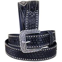 46 in M&F Western Belt Ariat Sands Mens Leather Basket Weave Concho U-2-46 - $54.40