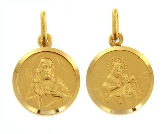 18K YELLOW GOLD SCAPULAR OUR LADY OF MOUNT CARMEL SACRED HEART MEDAL ITALY MADE