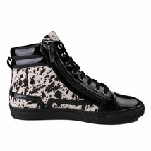 Versace Collection Black Pony Hair Patent Leather HI-Top Zip-Up Fashion Sneaker image 4