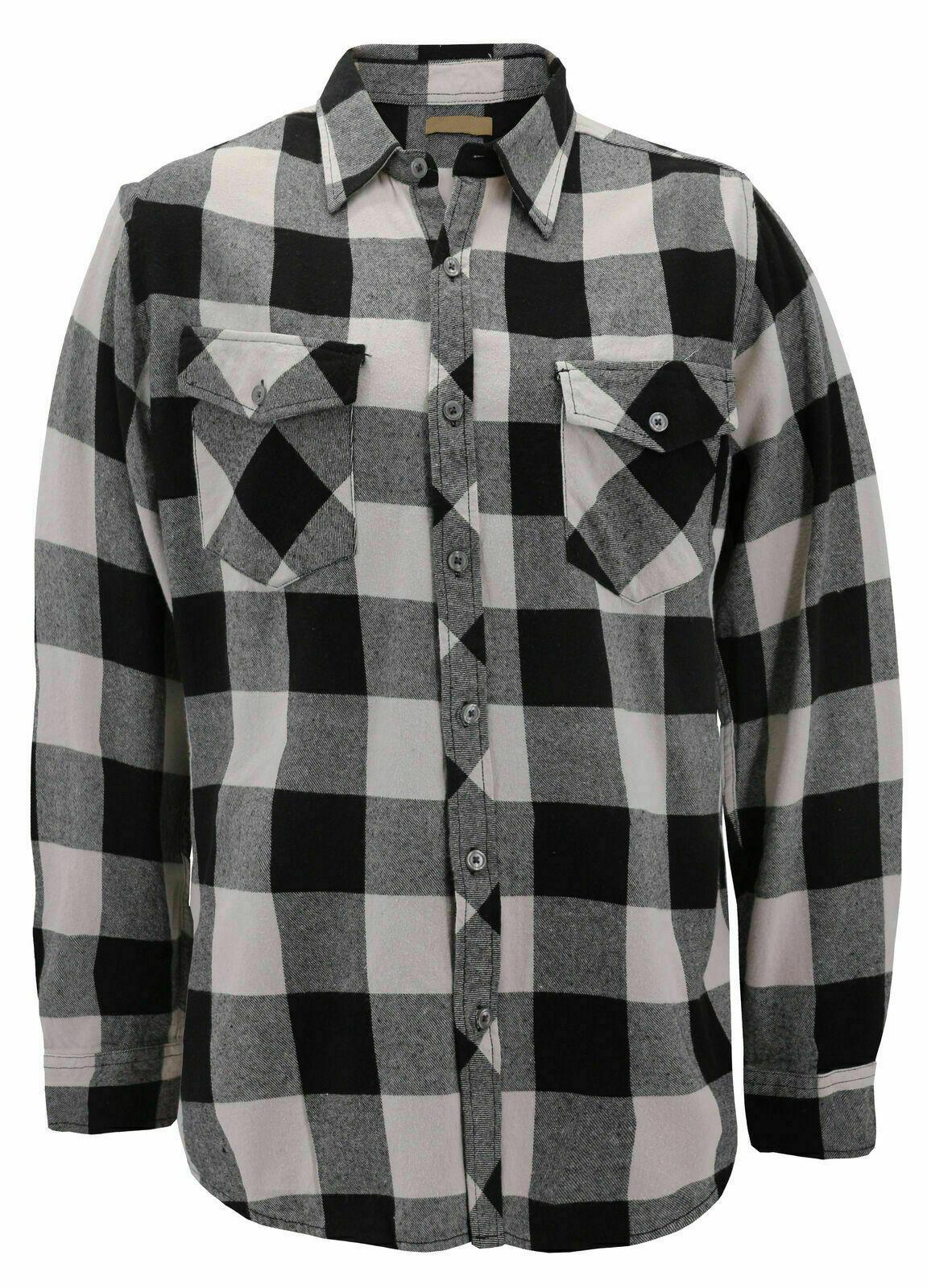 Men's Premium Cotton Button Up Long Sleeve Plaid Black/Cream Flannel Shirt - L