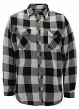 Men's Premium Cotton Button Up Long Sleeve Plaid Black/Cream Flannel Shirt - L