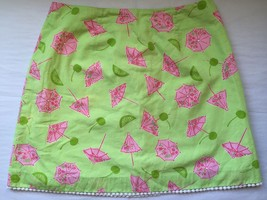 f944ed5088deb2 LILLY PULITZER UMBRELLAS AND CHERRIES LINED SKIRT SZ 4 - $34.64