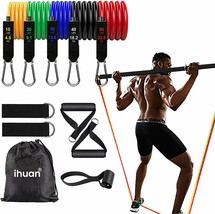 Resistance Bands Exercise Set with Door Anchor, Ankle Straps, Carry Bag & Guide