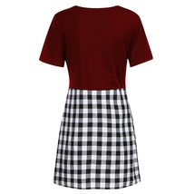 Maternity Dress Checkered Patchwork O Neck Short Sleeve Dress image 5