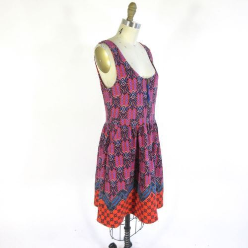 10 - Maeve Anthropologie Pink Front Zip Multi Color Printed Amapola Dress 0000MB