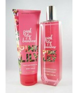 Bath & Body Works Pink Lily & Bamboo Body Cream + Fragrance Mist Set 8oz... - $108.85